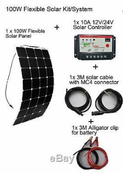 100W Complete Solar Kit System 18v Flexible Mono Module 10A Controller Cable RV