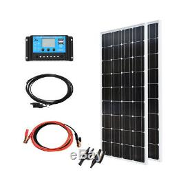 200W 18v Solar Panel Kit System 2x 100w Mono Module 20A Controller Home Roof Car