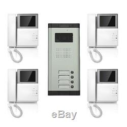 Apartment Wired Video Door Phone Audio Visual Intercom Entry System 4 Units