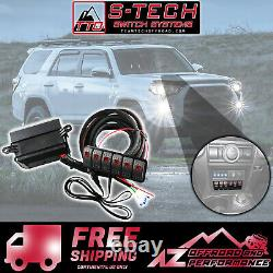 S-Tech 6 Switch System with Relay Center Red Dual LED For 2010-2013 Toyota 4Runner