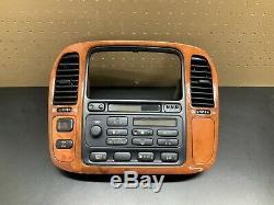 1998-2002 Oem De Lunette En Bois De Tableau De Bord De Lecteur CD De Radio De Climatiseur Lexus Lx470