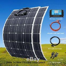 200w Panneau Solaire Système Solaire Cellule Module 20a Contrôleur Pour La Maison / Caravane / Rv / Voiture