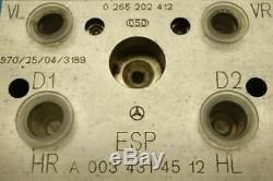 Abs Abs Mercedes Benz A140 A160 A170 A190 A0034314512 0265202412 0265202414