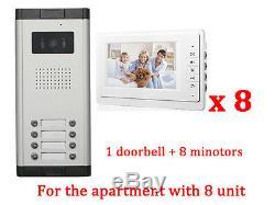Interphone D'entrée Pour Appartement De 8 Unités, Moniteur Vidéo De 7 '