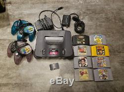 N64 Console, 2 Contrôleurs, Alimentation, Adaptateur Commutateur Rf / Rf Modulator Câble, 8 Jeux