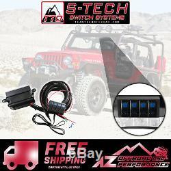 S-tech 4 Commutateur Système Avec Le Centre De Relais Bleu Double Led 97-06 Jeep Wrangler Tj / Lj
