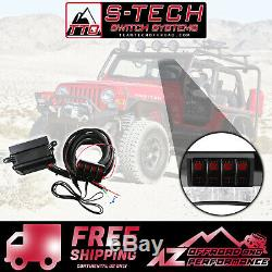 S-tech 4 Commutateur Système Avec Le Centre De Relais Red Double Led 97-06 Jeep Wrangler Tj / Lj