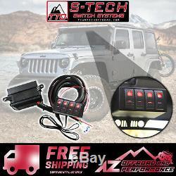 S-tech 4 Sélecteur De Système Avec Relais Red Center Double Led 09-18 Jeep Wrangler Jk